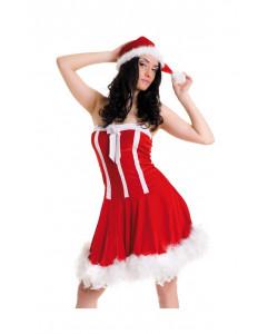 Новогоднее платье и шапочка красный